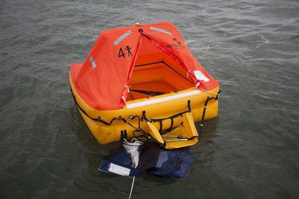 Ocean Safety  ocean ISO liferaft inflated in water