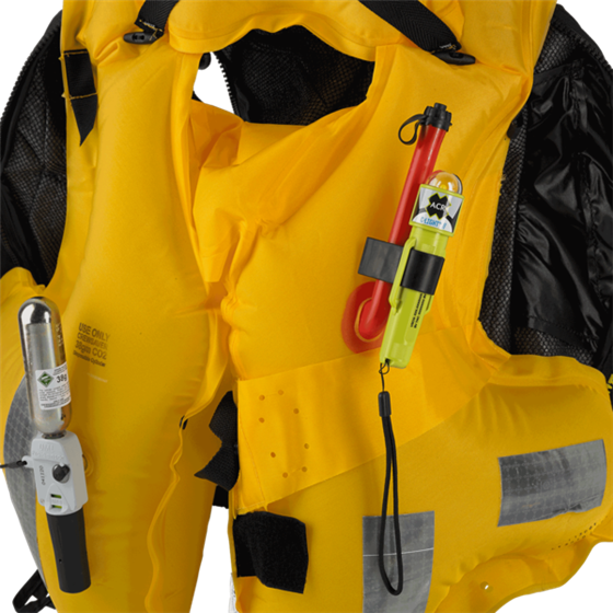 C-Strobe H2O installed on inflated life jacket